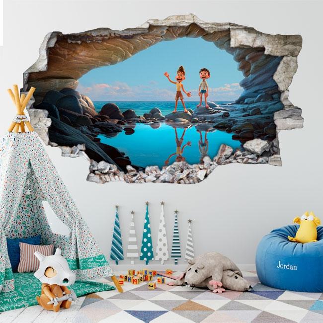Vinilos decorativos agujero 3d luca disney pixar