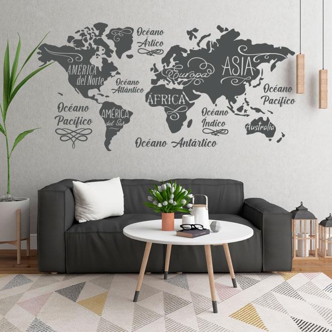 Vinilos mapamundi océanos y continentes