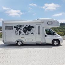 Vinilos caravanas mapamundi océanos y continentes