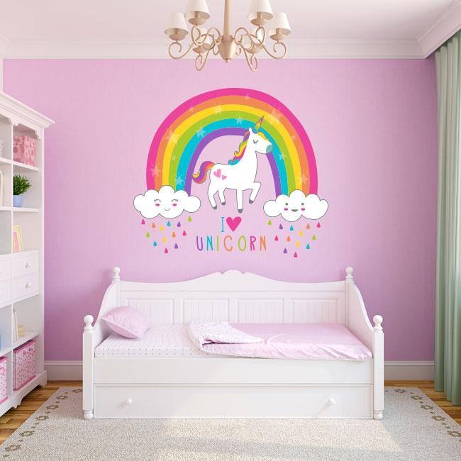 Vinilos decorativos unicornio con arcoíris y nubes