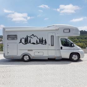 Vinilos y pegatinas autocaravanas paisaje con montañas