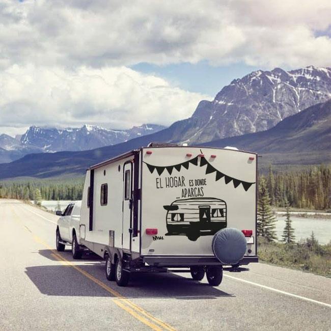 Vinilos y pegatinas caravanas frase el hogar es donde aparcas