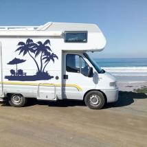 Vinilos decorativos autocaravanas palmeras en la playa