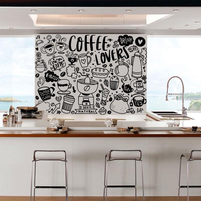 Vinilos decorativos frases amantes café