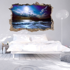 Vinilos paredes 3d luna en la playa