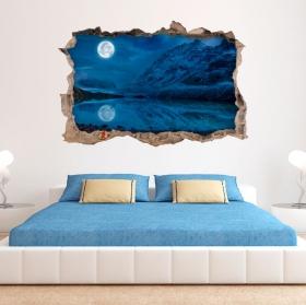 Vinilos paredes 3d luna llena en invierno