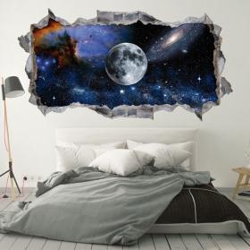 Vinilos y pegatinas 3d luna en el espacio