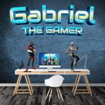 Vinilo nombre personalizado y frase the gamer
