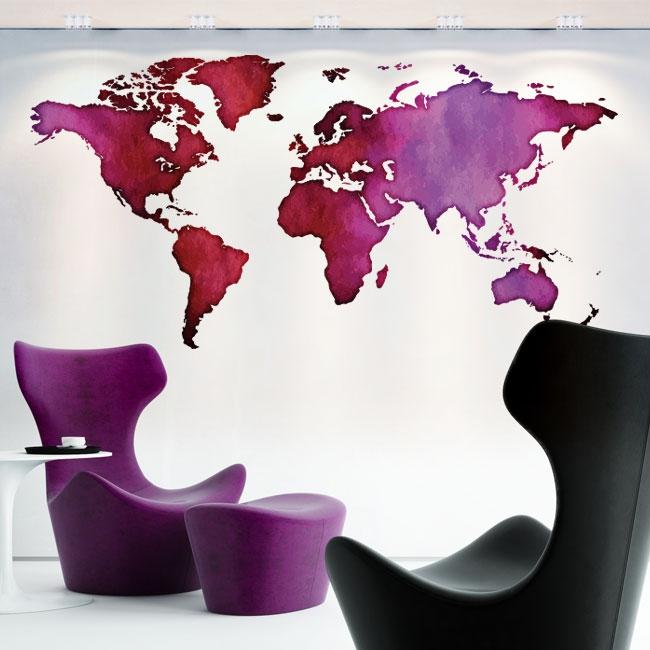 Vinilos decorativos mapamundi de colores