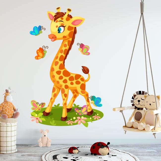 Vinilos infantiles o para bebés jirafa y mariposas