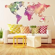 Vinilos adhesivos y pegatinas mapamundi de colores