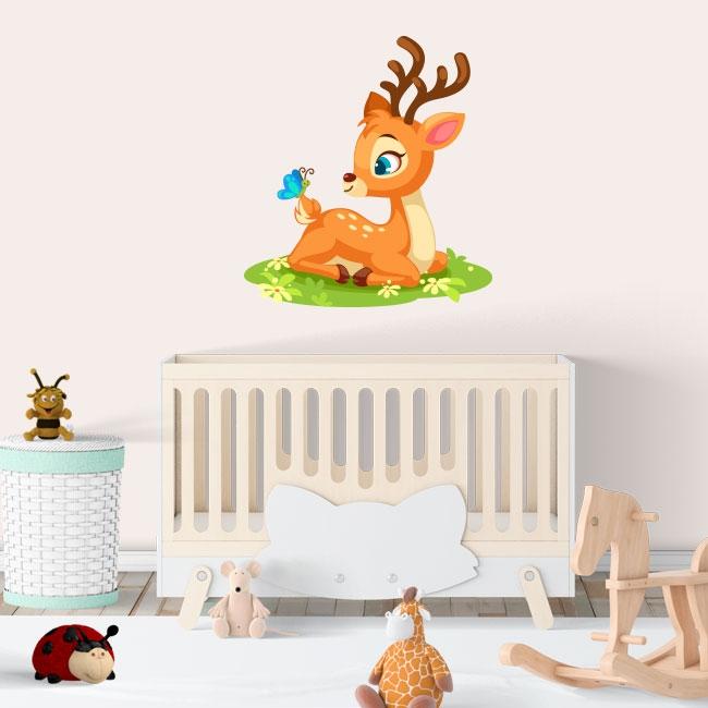 Vinilos infantiles o para bebés bambi y mariposa