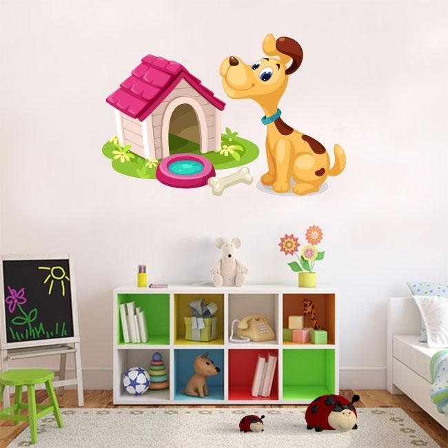 Vinilos infantiles perro en su casa