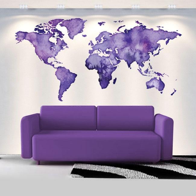 Vinilos decorativos mapamundi colores