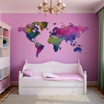 Vinilo decorativo mapamundi colores