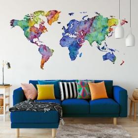 Vinilo decorativo mapamundi multicolor