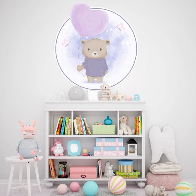 Vinilos infantiles o para bebés oso con globo