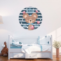 Vinilos y pegatinas infantiles o para bebés oso romántico