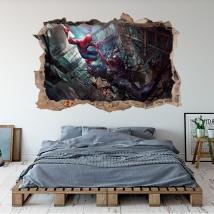 Vinilos 3d marvel ilustración spider-man y venom